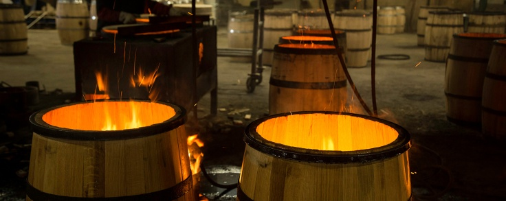 Casks being toasted at the Glenfiddich distillery.