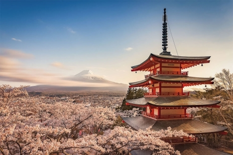 A temple overlooking Mount Fuji.
