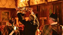 The Grand Quaich is carried into the Grand Hall of Blair Castle during a banquet.